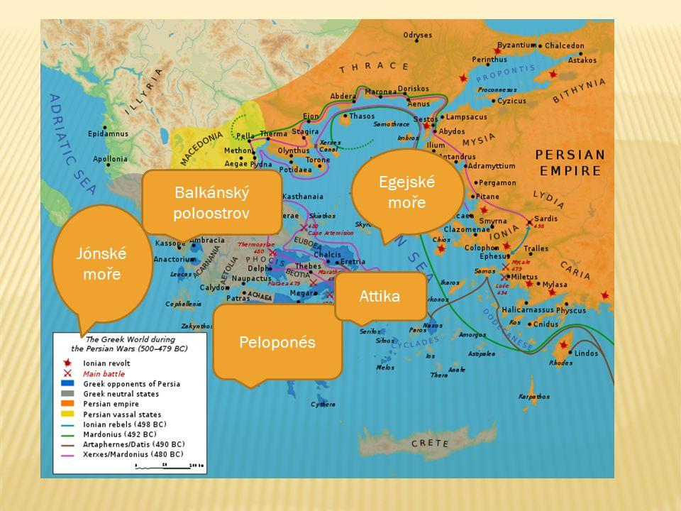 Balkánský poloostrov Peloponés Attika Egejské moře Jónské moře