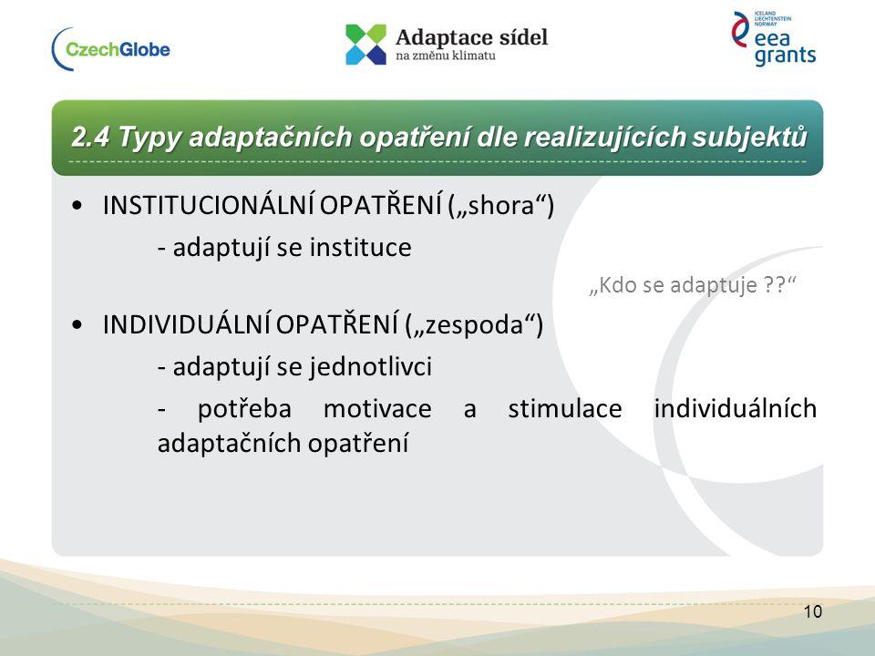 """2.4 Typy adaptačních opatření dle realizujících subjektů INSTITUCIONÁLNÍ OPATŘENÍ (""""shora"""") - adaptují se instituce """"Kdo se adaptuje ??"""" INDIVIDUÁLNÍ"""