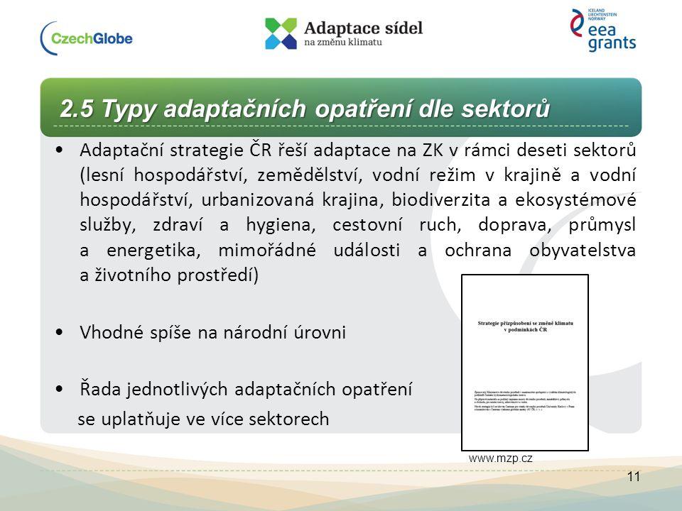 2.5 Typy adaptačních opatření dle sektorů Adaptační strategie ČR řeší adaptace na ZK v rámci deseti sektorů (lesní hospodářství, zemědělství, vodní re