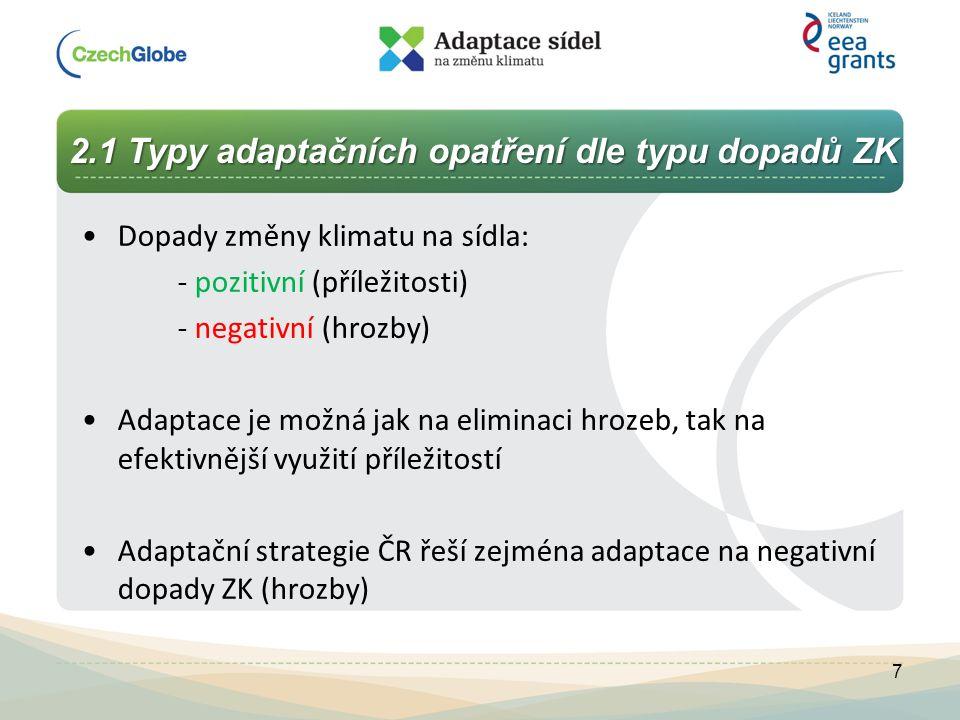 2.1 Typy adaptačních opatření dle typu dopadů ZK 2.1 Typy adaptačních opatření dle typu dopadů ZK Dopady změny klimatu na sídla: - pozitivní (příležit