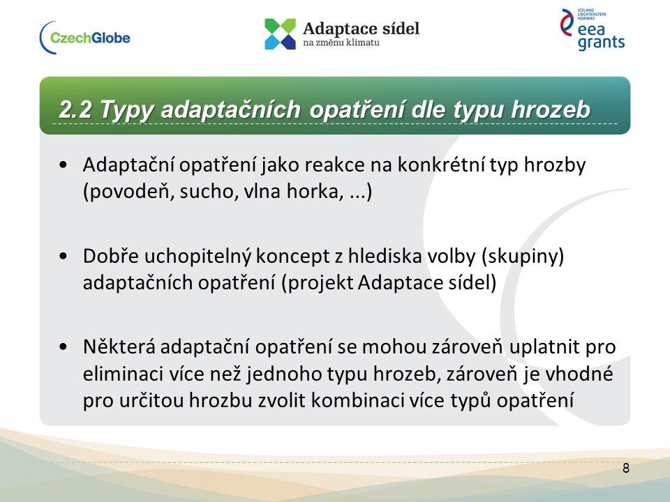 2.2 Typy adaptačních opatření dle typu hrozeb Adaptační opatření jako reakce na konkrétní typ hrozby (povodeň, sucho, vlna horka,...) Dobře uchopiteln