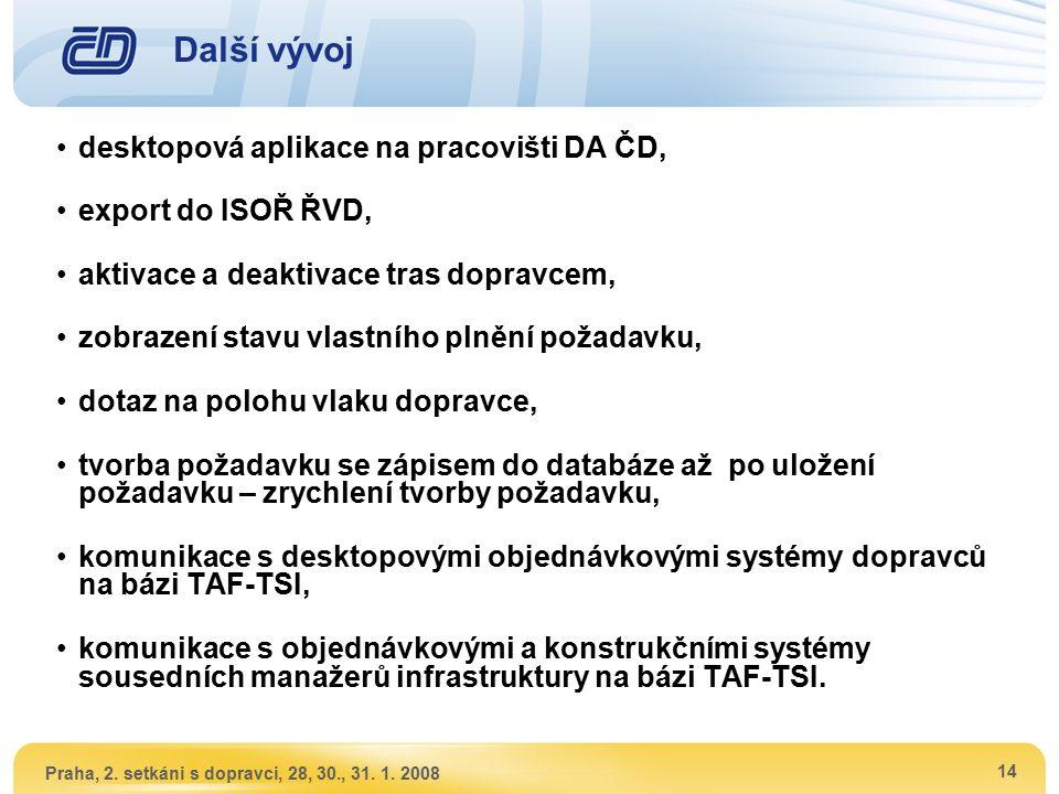 Praha, 2. setkáni s dopravci, 28, 30., 31. 1. 2008 14 Další vývoj desktopová aplikace na pracovišti DA ČD, export do ISOŘ ŘVD, aktivace a deaktivace t