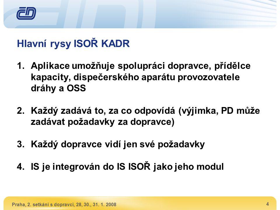 Praha, 2. setkáni s dopravci, 28, 30., 31. 1. 2008 4 Hlavní rysy ISOŘ KADR 1.Aplikace umožňuje spolupráci dopravce, přídělce kapacity, dispečerského a