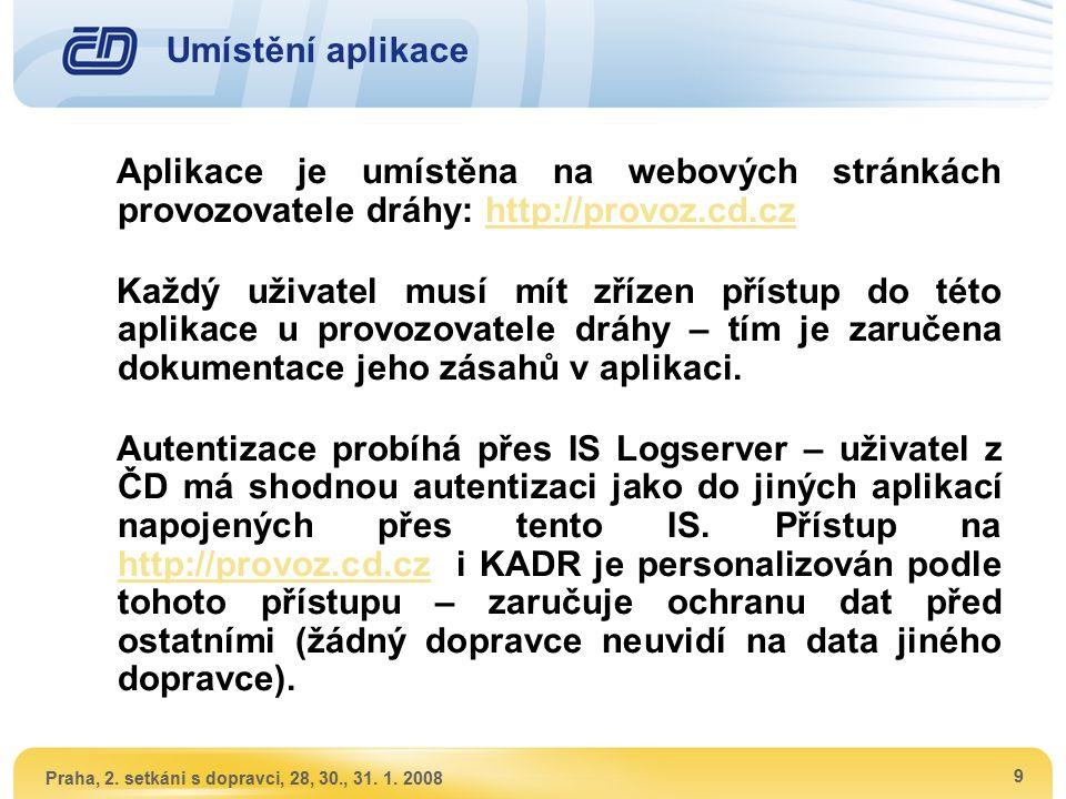 Praha, 2. setkáni s dopravci, 28, 30., 31. 1. 2008 9 Umístění aplikace Aplikace je umístěna na webových stránkách provozovatele dráhy: http://provoz.c