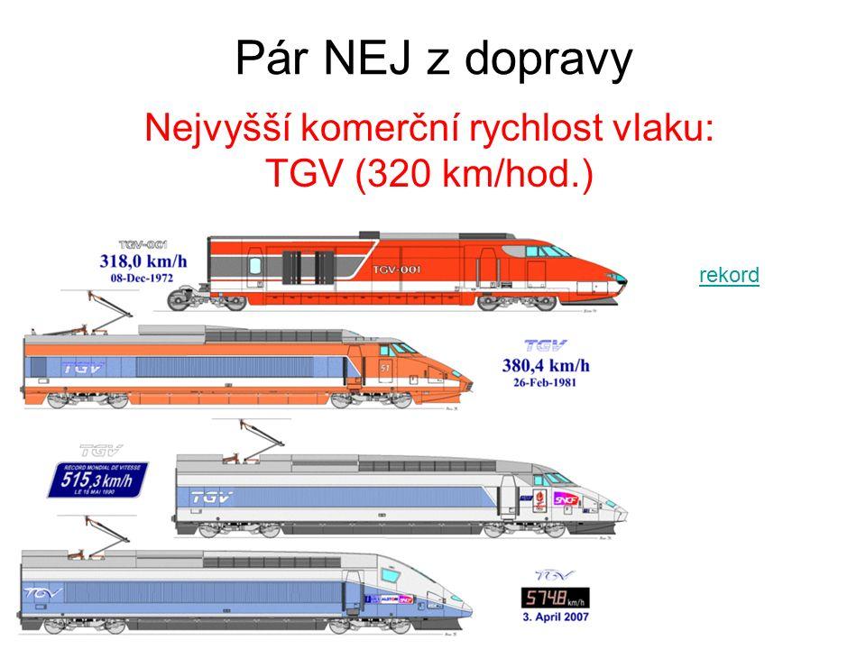 Pár NEJ z dopravy Nejvyšší komerční rychlost vlaku: TGV (320 km/hod.) rekord