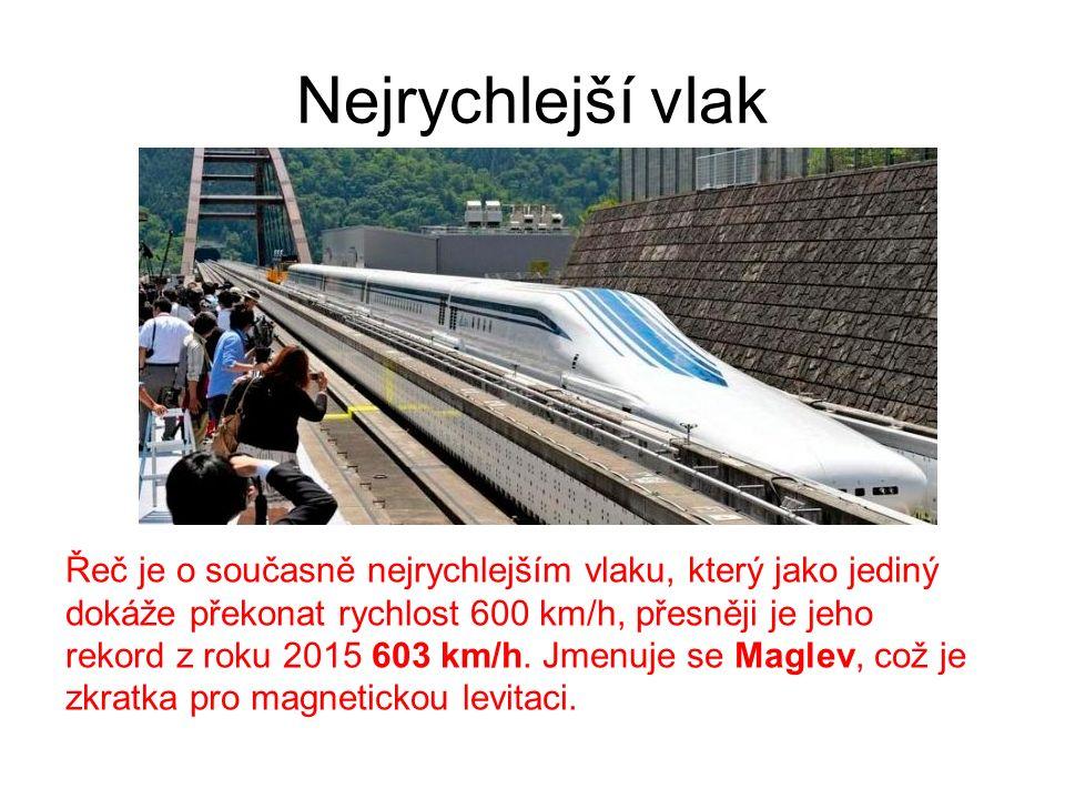 Nejrychlejší vlak Řeč je o současně nejrychlejším vlaku, který jako jediný dokáže překonat rychlost 600 km/h, přesněji je jeho rekord z roku 2015 603 km/h.