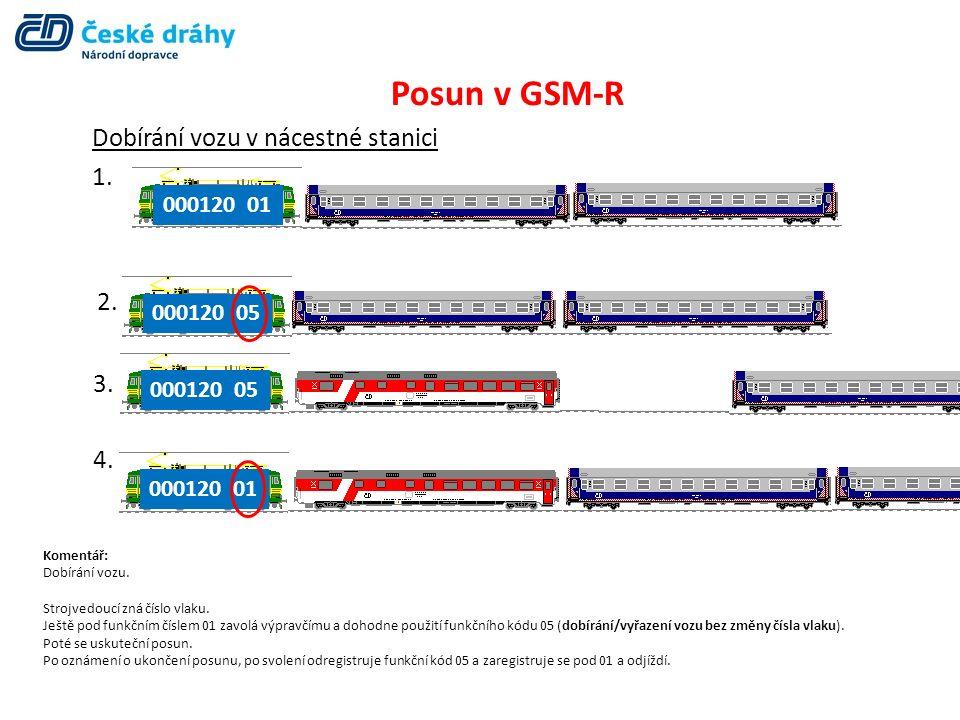Posun v GSM-R Dobírání vozu v nácestné stanici 1. 000120 01 2. 3. 4. 000120 05 000120 01 Komentář: Dobírání vozu. Strojvedoucí zná číslo vlaku. Ještě