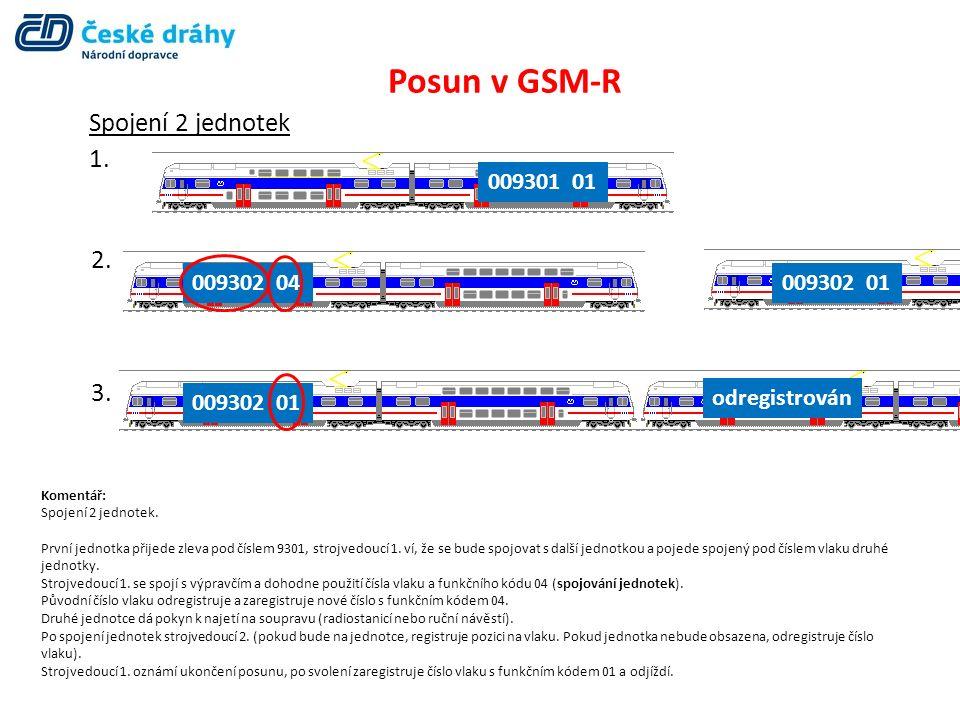 Posun v GSM-R Spojení 2 jednotek 1. 009301 01 2. 3. 009302 04009302 01 odregistrován Komentář: Spojení 2 jednotek. První jednotka přijede zleva pod čí