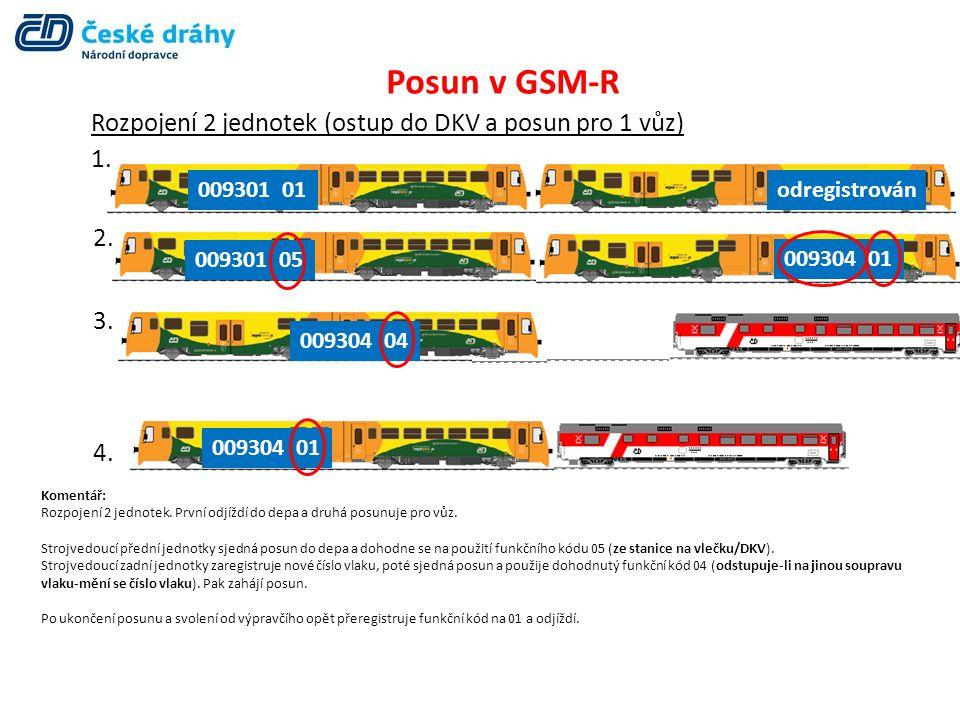 Posun v GSM-R Rozpojení 2 jednotek (ostup do DKV a posun pro 1 vůz) 1. 009301 01 2. 3. 4. 009301 05 009304 01 odregistrován 009304 04 009304 01 Koment