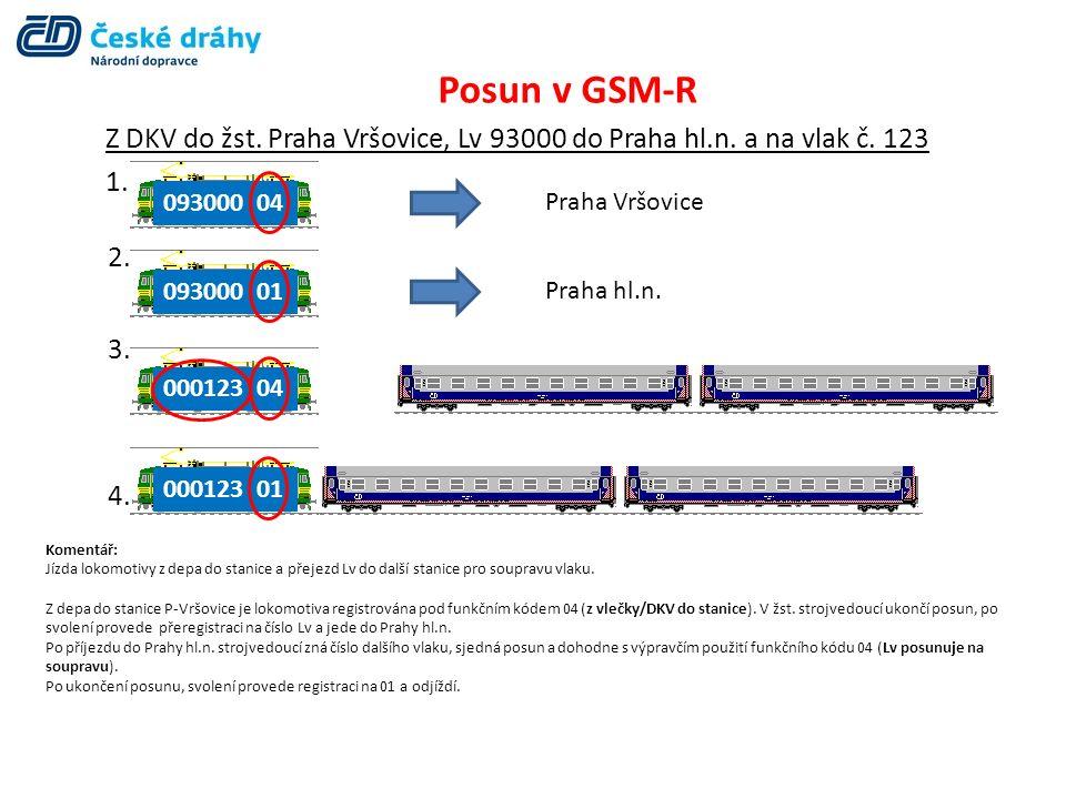 Posun v GSM-R Funkční kód určí výpravčí.