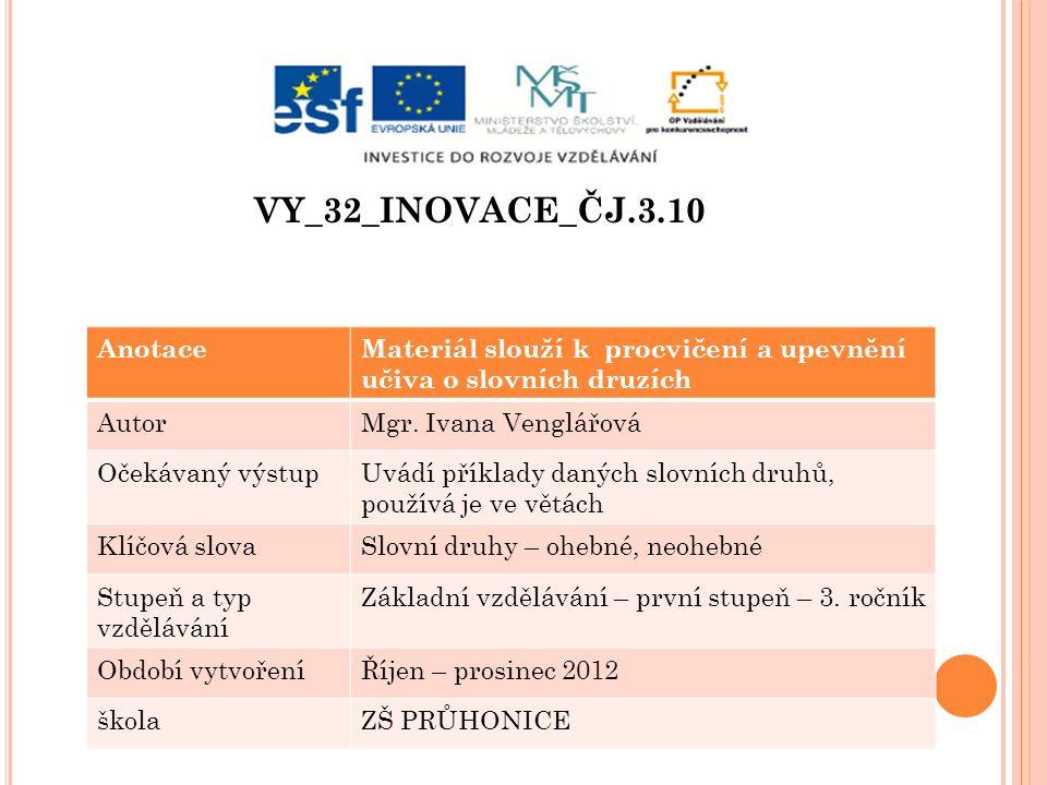 VY_32_INOVACE_ČJ.3.10 AnotaceMateriál slouží k procvičení a upevnění učiva o slovních druzích AutorMgr.