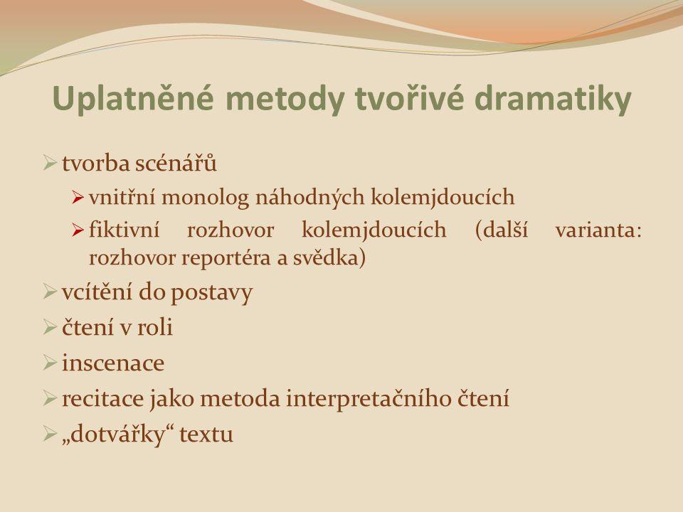 Uplatněné metody tvořivé dramatiky  tvorba scénářů  vnitřní monolog náhodných kolemjdoucích  fiktivní rozhovor kolemjdoucích (další varianta: rozho