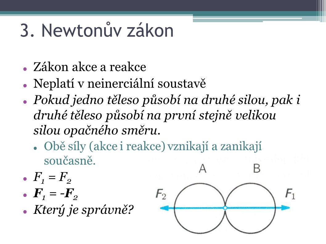 3. Newtonův zákon Zákon akce a reakce Neplatí v neinerciální soustavě Pokud jedno těleso působí na druhé silou, pak i druhé těleso působí na první ste