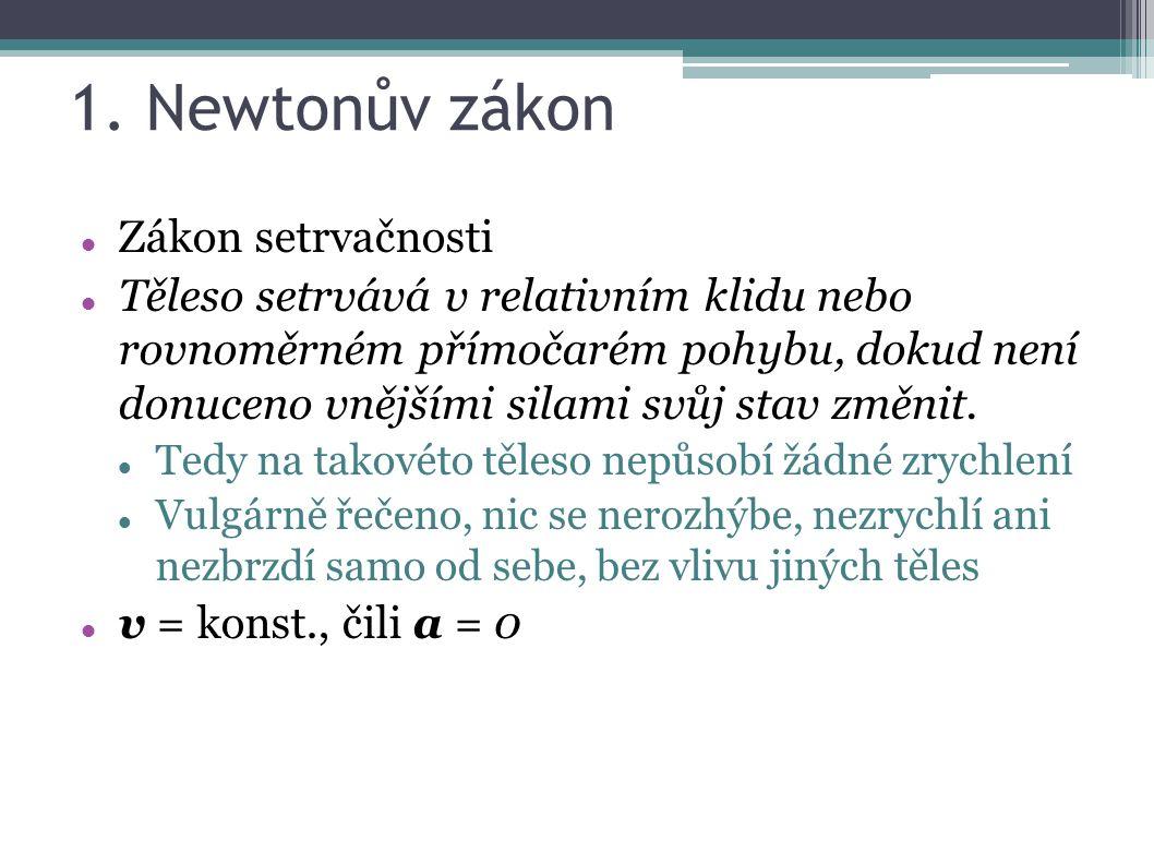 1. Newtonův zákon Zákon setrvačnosti Těleso setrvává v relativním klidu nebo rovnoměrném přímočarém pohybu, dokud není donuceno vnějšími silami svůj s