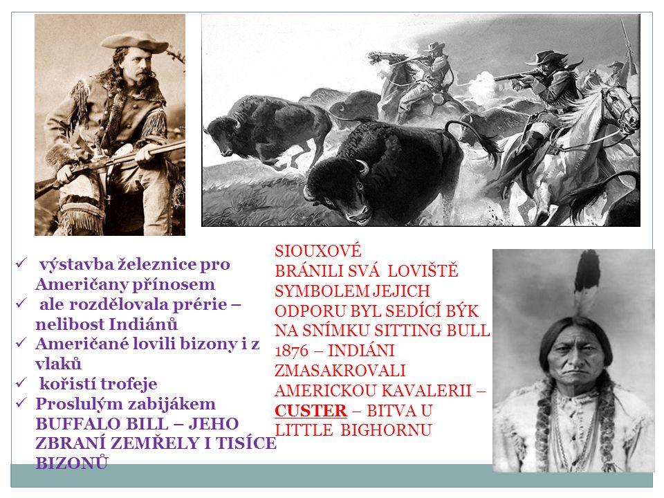 výstavba železnice pro Američany přínosem ale rozdělovala prérie – nelibost Indiánů Američané lovili bizony i z vlaků kořistí trofeje Proslulým zabijákem BUFFALO BILL – JEHO ZBRANÍ ZEMŘELY I TISÍCE BIZONŮ SIOUXOVÉ BRÁNILI SVÁ LOVIŠTĚ SYMBOLEM JEJICH ODPORU BYL SEDÍCÍ BÝK NA SNÍMKU SITTING BULL 1876 – INDIÁNI ZMASAKROVALI AMERICKOU KAVALERII – CUSTER – BITVA U LITTLE BIGHORNU