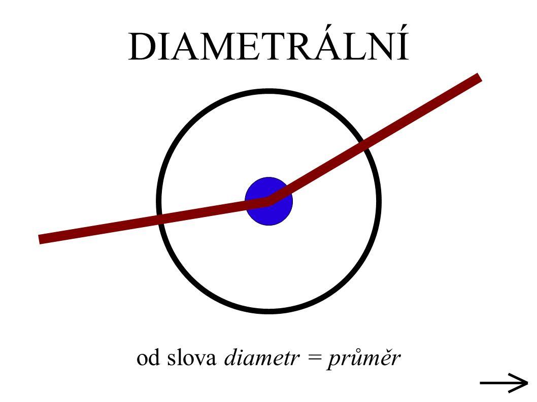 DIAMETRÁLNÍ od slova diametr = průměr