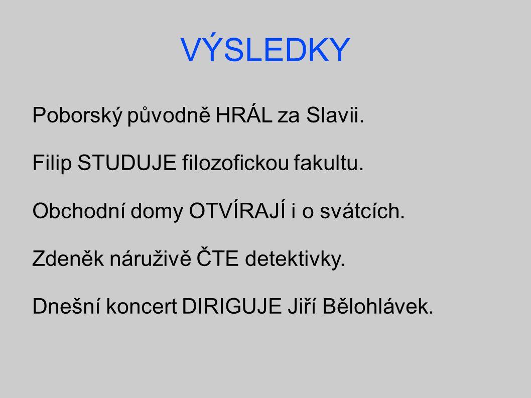 VÝSLEDKY Poborský původně HRÁL za Slavii. Filip STUDUJE filozofickou fakultu.