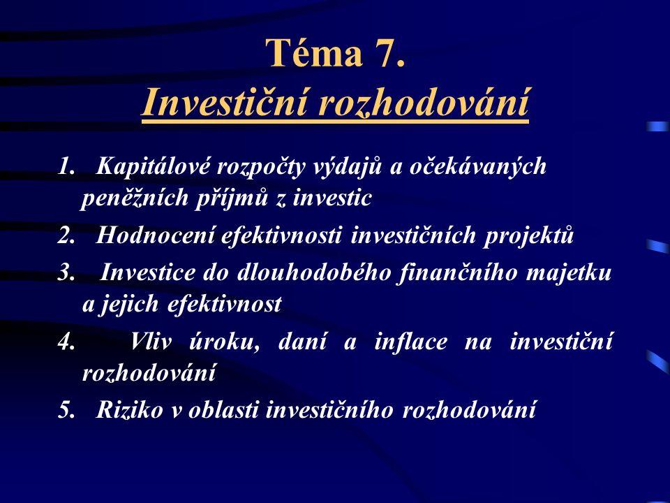 Index ziskovosti (rentability): n CF t  ----------------- t=1 (1 + i) t I z = ---------------------------------- K
