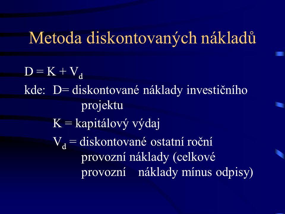 Metoda diskontovaných nákladů D = K + V d kde:D= diskontované náklady investičního projektu K = kapitálový výdaj V d = diskontované ostatní roční provozní náklady (celkové provozní náklady mínus odpisy)