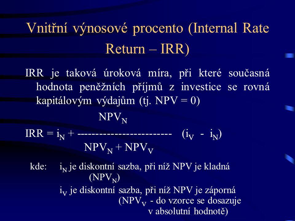 Vnitřní výnosové procento (Internal Rate Return – IRR) IRR je taková úroková míra, při které současná hodnota peněžních příjmů z investice se rovná kapitálovým výdajům (tj.