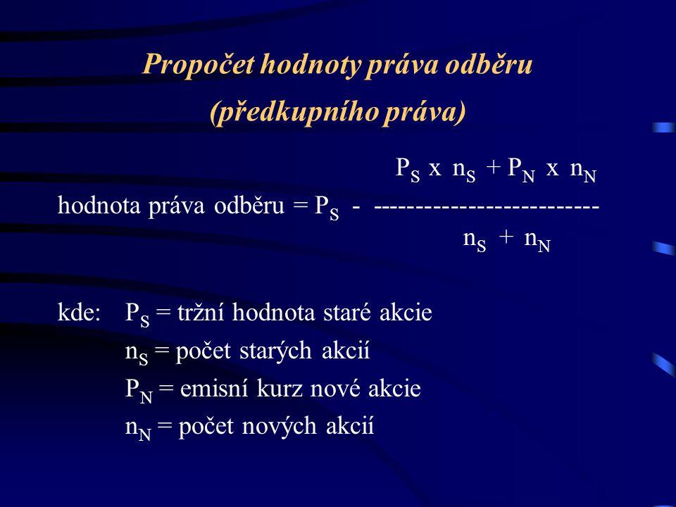 Propočet hodnoty práva odběru (předkupního práva) P S x n S + P N x n N hodnota práva odběru = P S - -------------------------- n S + n N kde:P S = tržní hodnota staré akcie n S = počet starých akcií P N = emisní kurz nové akcie n N = počet nových akcií