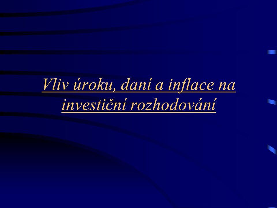 Vliv úroku, daní a inflace na investiční rozhodování