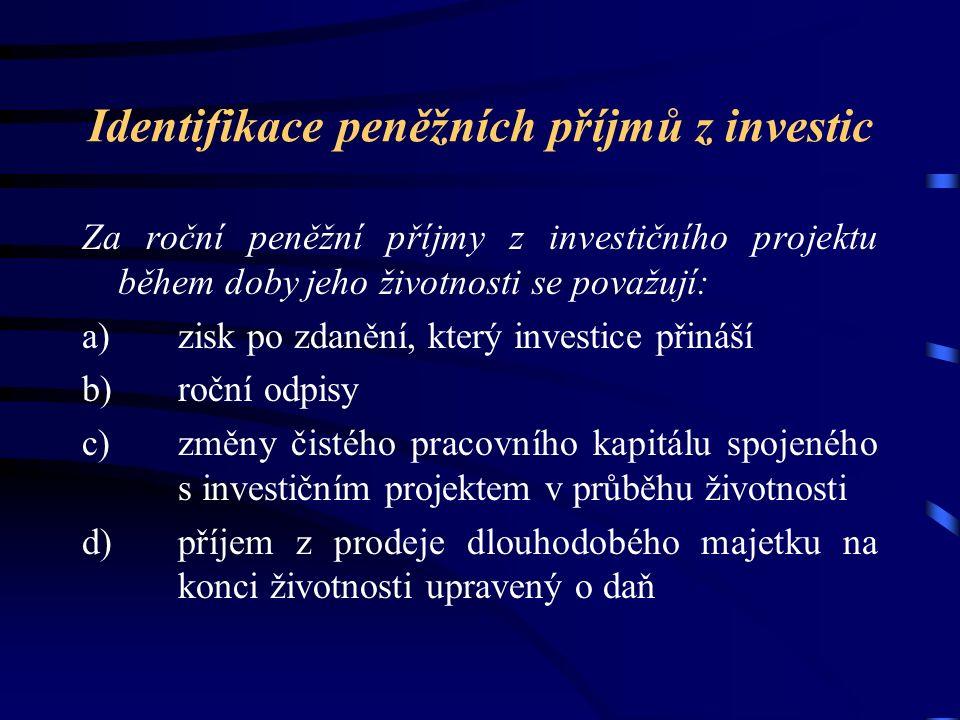 Pro účely hodnocení efektu investiční varianty se doporučuje do nákladů nezahrnovat placené úroky z cizího kapitálu použitého v souvislosti s investicí.