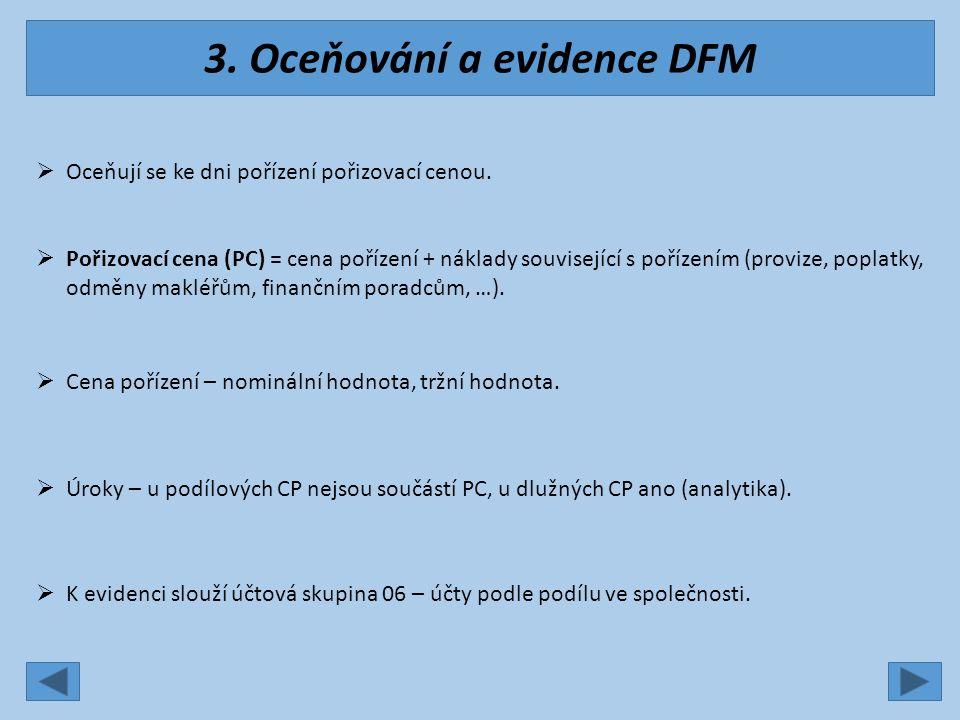 3. Oceňování a evidence DFM  Oceňují se ke dni pořízení pořizovací cenou.