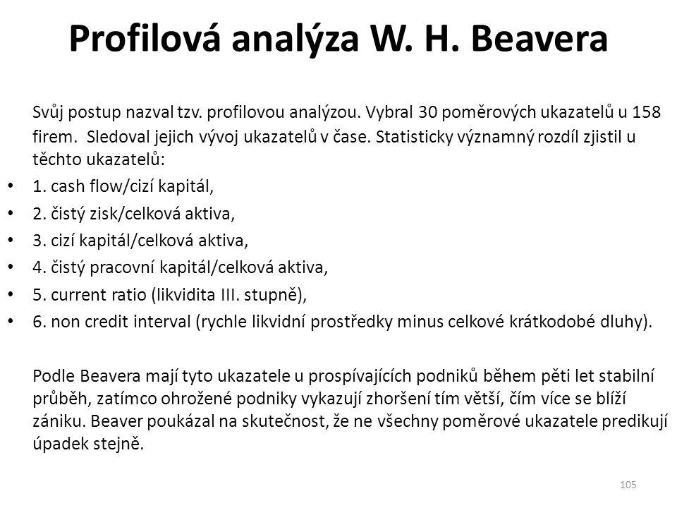 Profilová analýza W. H. Beavera Svůj postup nazval tzv.