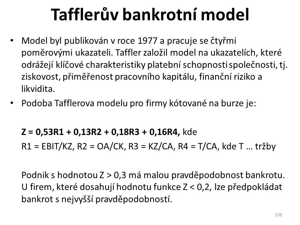 Tafflerův bankrotní model Model byl publikován v roce 1977 a pracuje se čtyřmi poměrovými ukazateli.