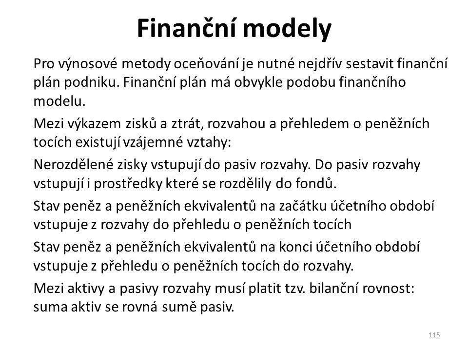 Finanční modely Pro výnosové metody oceňování je nutné nejdřív sestavit finanční plán podniku.