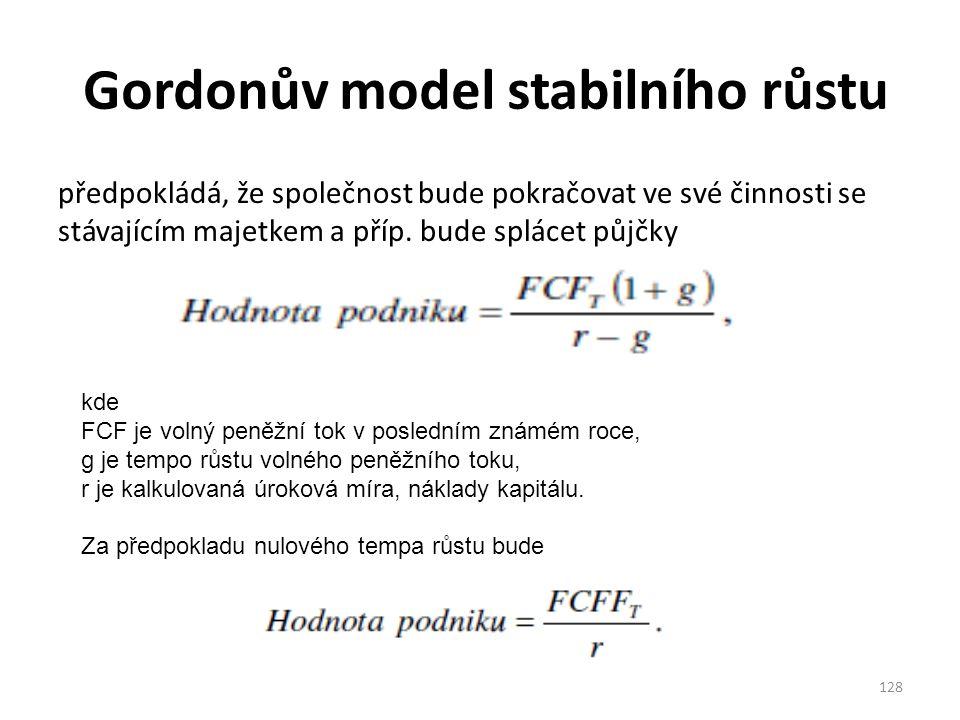 Gordonův model stabilního růstu předpokládá, že společnost bude pokračovat ve své činnosti se stávajícím majetkem a příp.
