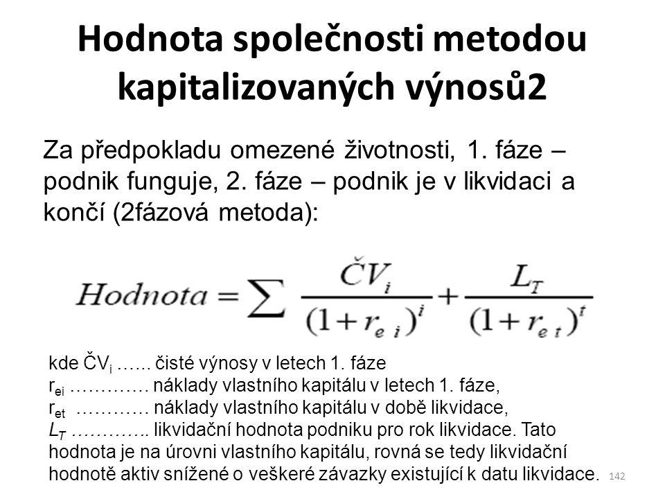 Hodnota společnosti metodou kapitalizovaných výnosů2 142 Za předpokladu omezené životnosti, 1.