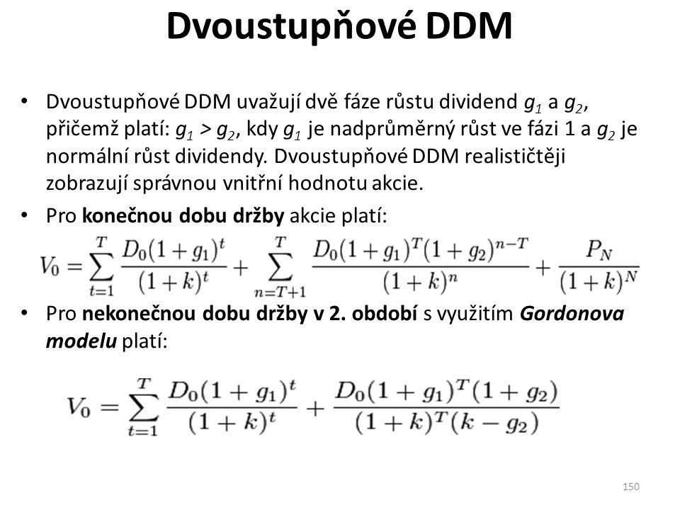 Dvoustupňové DDM Dvoustupňové DDM uvažují dvě fáze růstu dividend g 1 a g 2, přičemž platí: g 1 > g 2, kdy g 1 je nadprůměrný růst ve fázi 1 a g 2 je normální růst dividendy.
