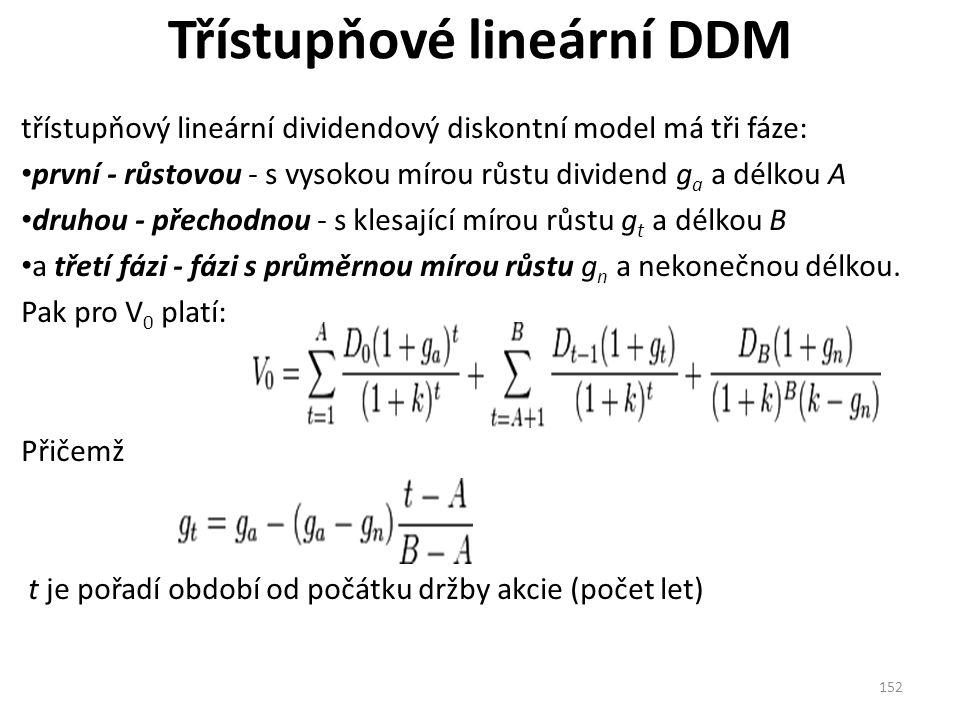 Třístupňové lineární DDM třístupňový lineární dividendový diskontní model má tři fáze: první - růstovou - s vysokou mírou růstu dividend g a a délkou A druhou - přechodnou - s klesající mírou růstu g t a délkou B a třetí fázi - fázi s průměrnou mírou růstu g n a nekonečnou délkou.