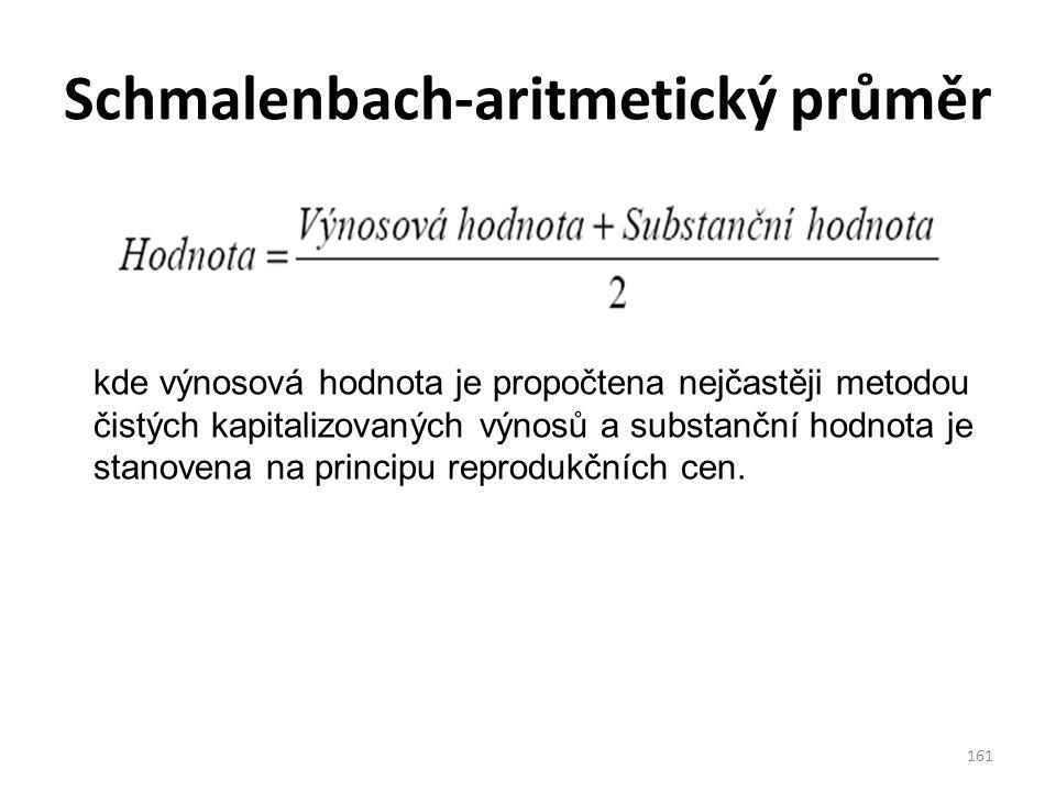 Schmalenbach-aritmetický průměr 161 kde výnosová hodnota je propočtena nejčastěji metodou čistých kapitalizovaných výnosů a substanční hodnota je stanovena na principu reprodukčních cen.