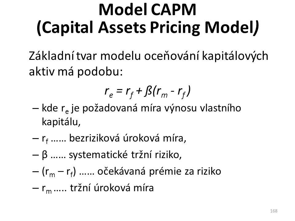 Model CAPM (Capital Assets Pricing Model) Základní tvar modelu oceňování kapitálových aktiv má podobu: r e = r f + ß(r m - r f ) – kde r e je požadovaná míra výnosu vlastního kapitálu, – r f …… bezriziková úroková míra, – β …… systematické tržní riziko, – (r m – r f ) …… očekávaná prémie za riziko – r m …..