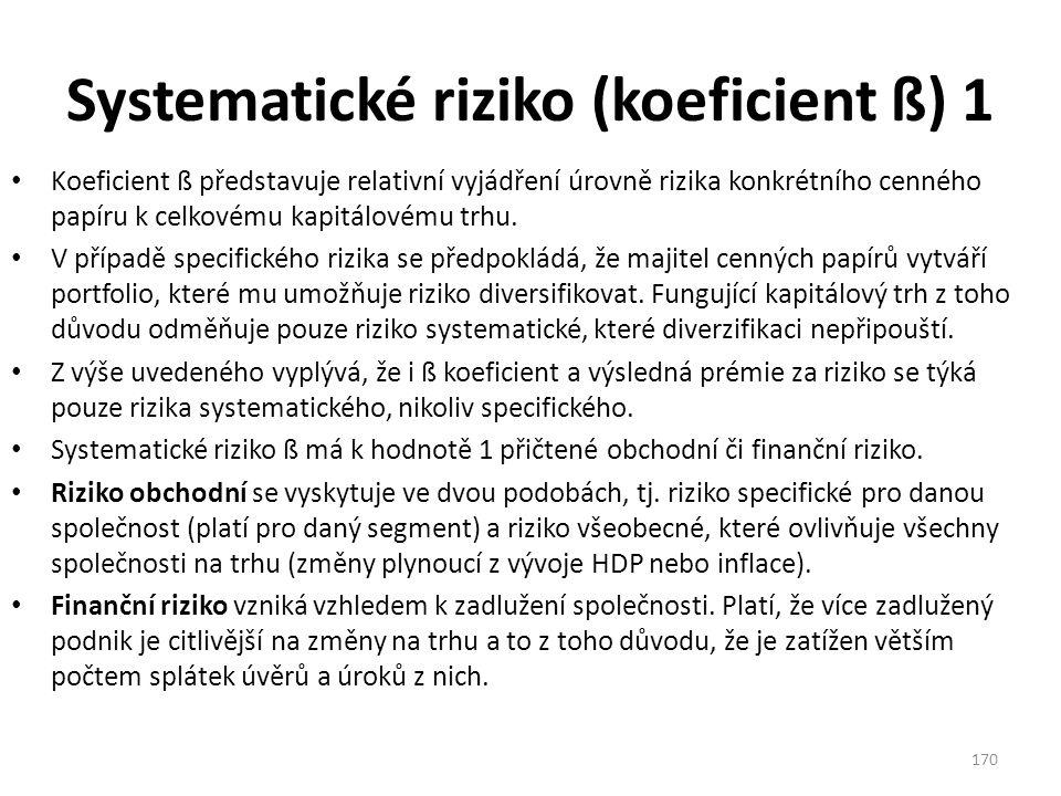 Systematické riziko (koeficient ß) 1 Koeficient ß představuje relativní vyjádření úrovně rizika konkrétního cenného papíru k celkovému kapitálovému trhu.