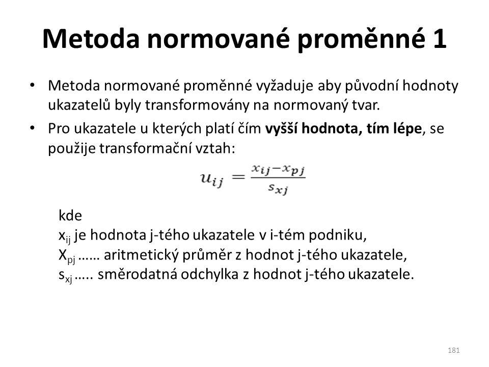 Metoda normované proměnné 1 Metoda normované proměnné vyžaduje aby původní hodnoty ukazatelů byly transformovány na normovaný tvar.