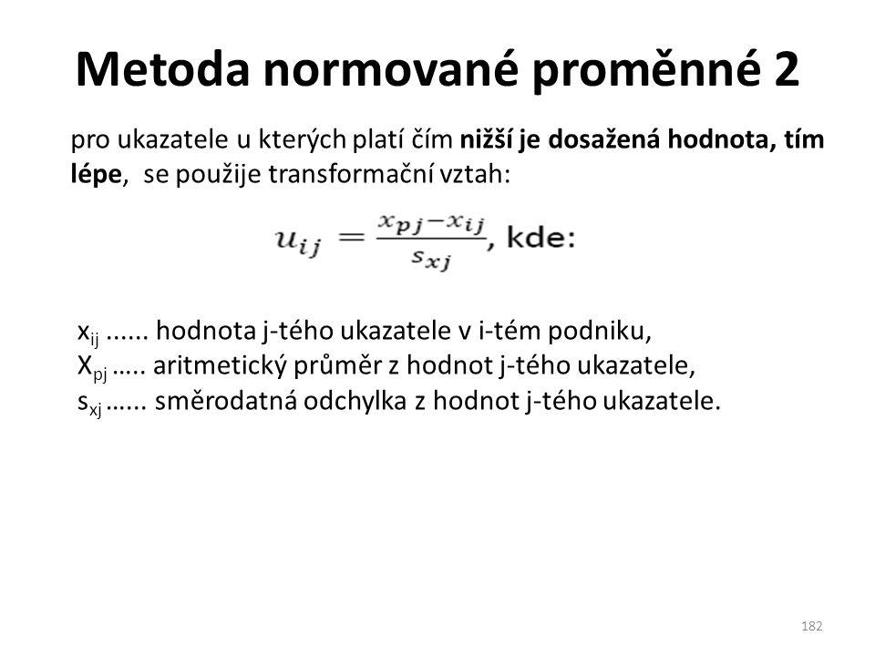 Metoda normované proměnné 2 182 pro ukazatele u kterých platí čím nižší je dosažená hodnota, tím lépe, se použije transformační vztah: x ij......