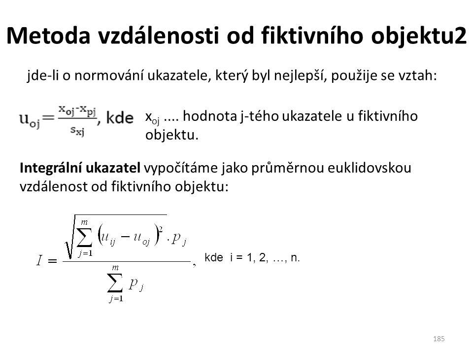 Metoda vzdálenosti od fiktivního objektu2 185 jde‐li o normování ukazatele, který byl nejlepší, použije se vztah: Integrální ukazatel vypočítáme jako průměrnou euklidovskou vzdálenost od fiktivního objektu: x oj....