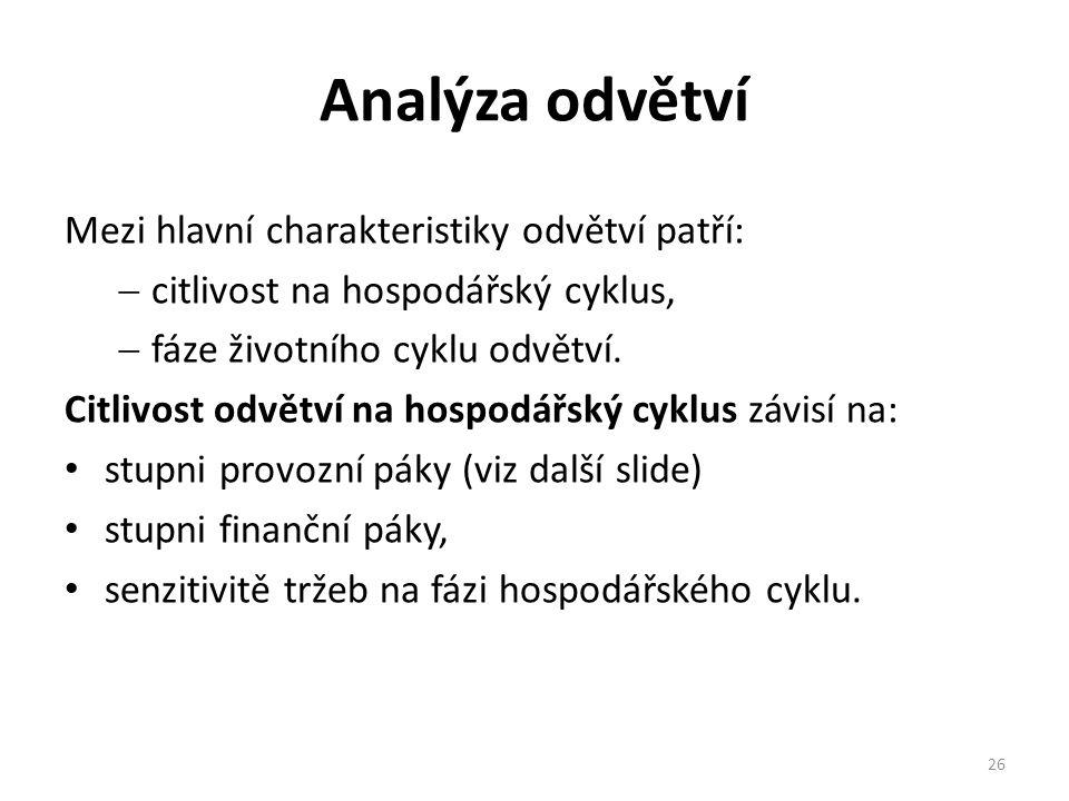 Analýza odvětví Mezi hlavní charakteristiky odvětví patří:  citlivost na hospodářský cyklus,  fáze životního cyklu odvětví.