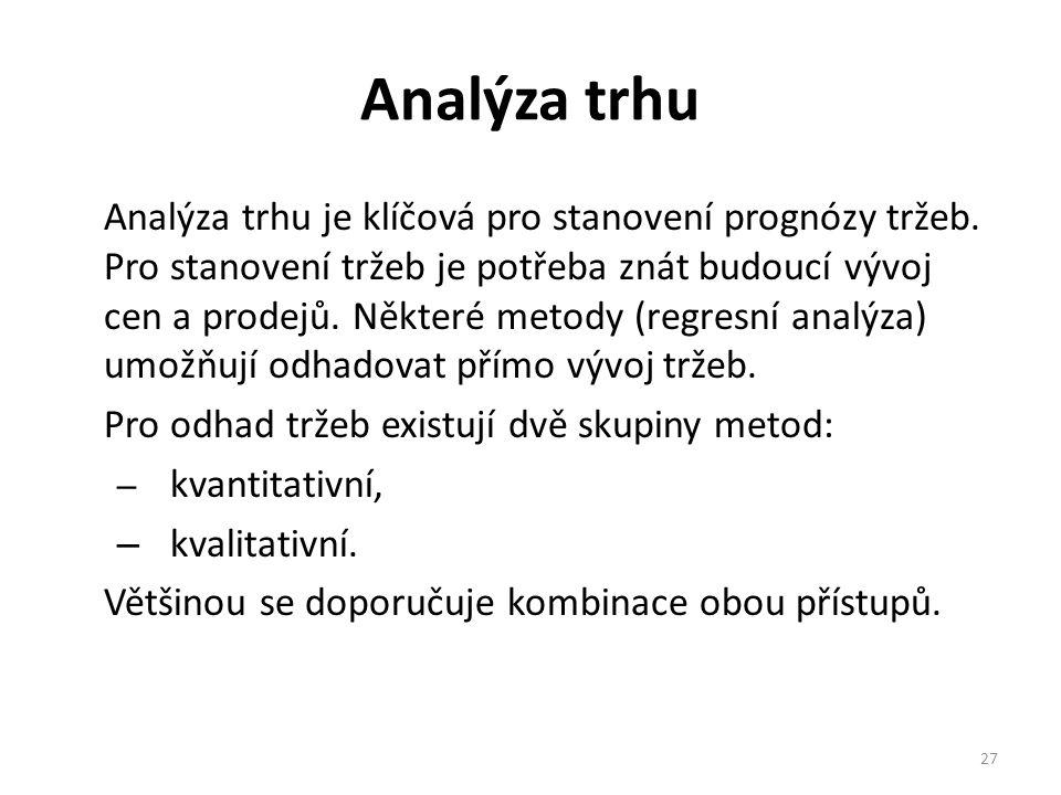 Analýza trhu Analýza trhu je klíčová pro stanovení prognózy tržeb.