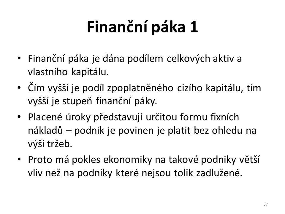 Finanční páka 1 Finanční páka je dána podílem celkových aktiv a vlastního kapitálu.