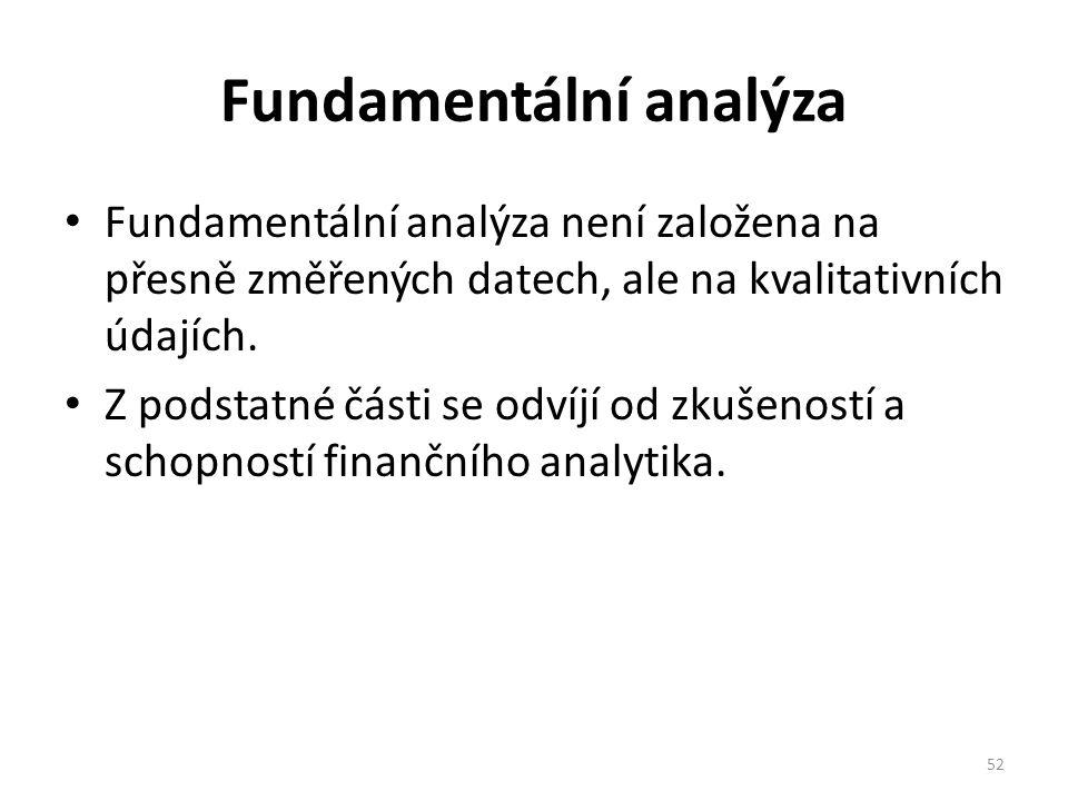 Fundamentální analýza Fundamentální analýza není založena na přesně změřených datech, ale na kvalitativních údajích.