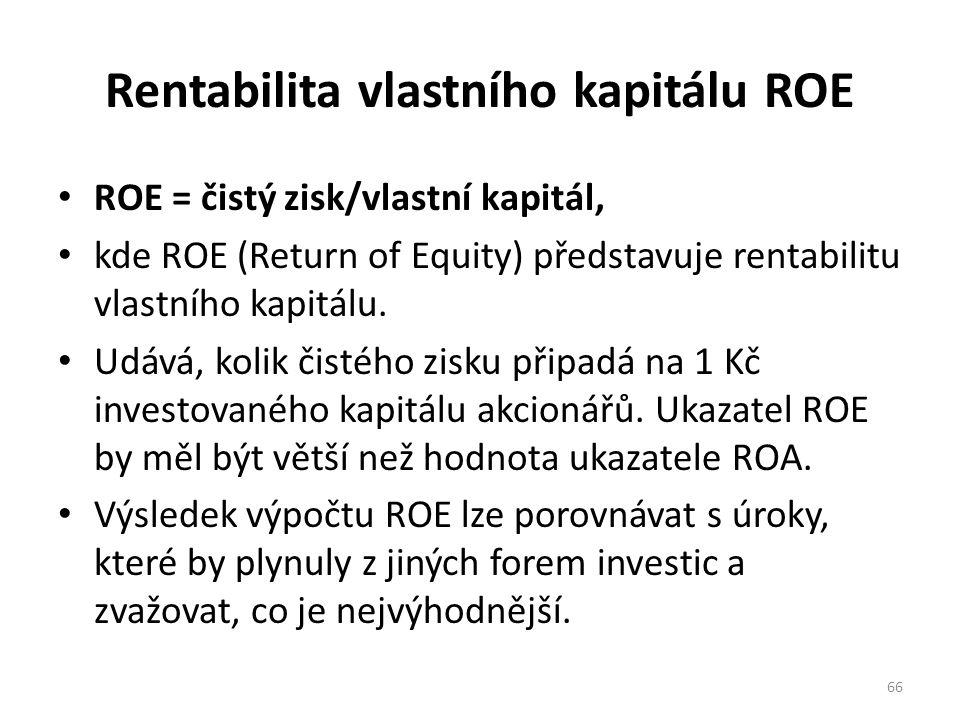 Rentabilita vlastního kapitálu ROE ROE = čistý zisk/vlastní kapitál, kde ROE (Return of Equity) představuje rentabilitu vlastního kapitálu.