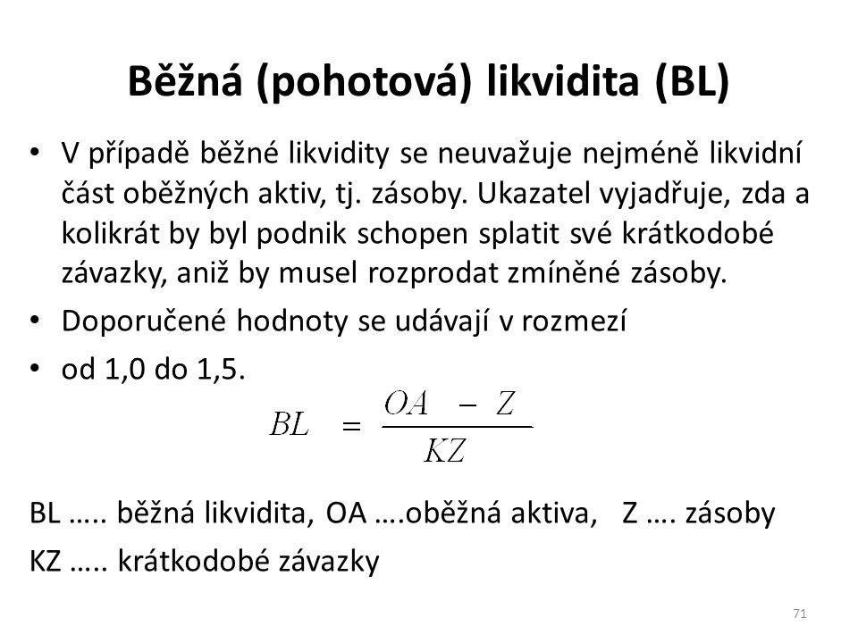 Běžná (pohotová) likvidita (BL) V případě běžné likvidity se neuvažuje nejméně likvidní část oběžných aktiv, tj.