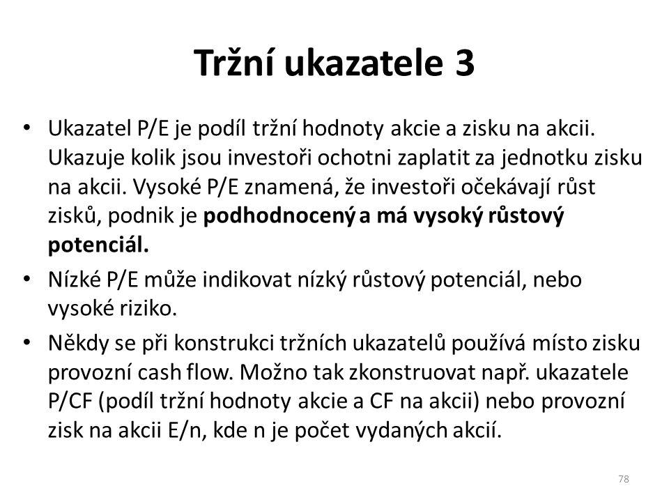 Tržní ukazatele 3 Ukazatel P/E je podíl tržní hodnoty akcie a zisku na akcii.