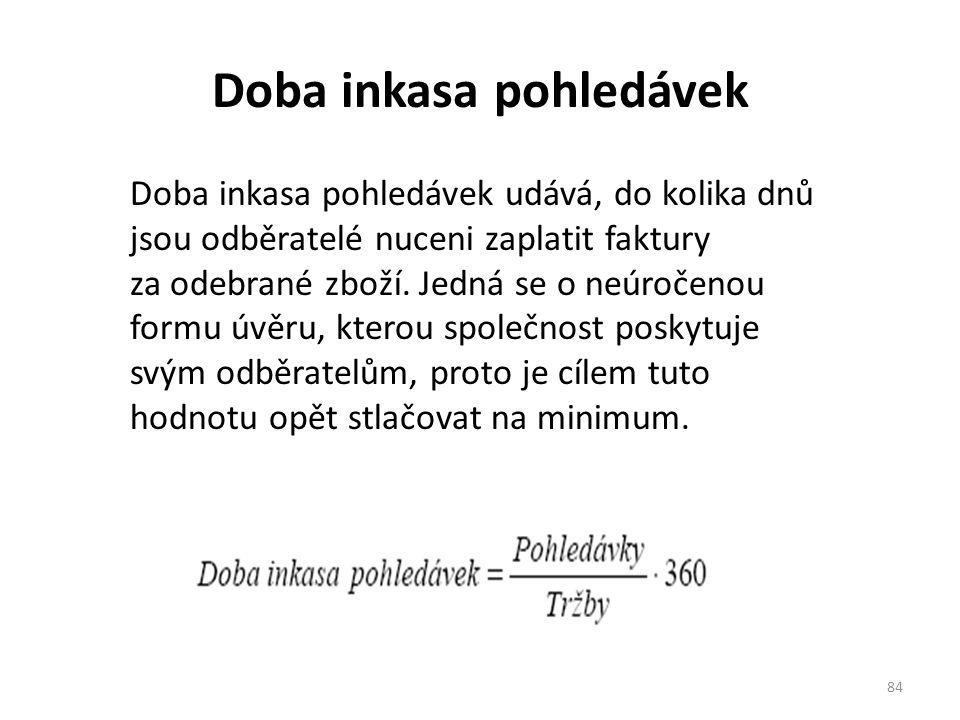 Doba inkasa pohledávek 84 Doba inkasa pohledávek udává, do kolika dnů jsou odběratelé nuceni zaplatit faktury za odebrané zboží.
