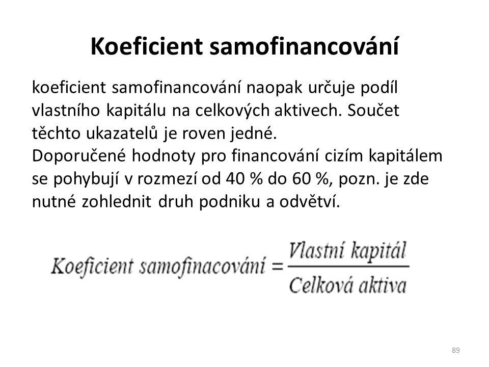 Koeficient samofinancování 89 koeficient samofinancování naopak určuje podíl vlastního kapitálu na celkových aktivech.